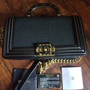 Chanel python genuine leather bag